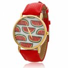 Fad Watermelon Pattern Dial Alloy Case Imitation Leather Watchband Women Wrist Watch Red