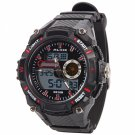 ALIKE Dual Display Multifunction Waterproof Electronic Outdoor Sports Male MenWrist Watch Red