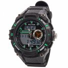 ALIKE Dual Display Multifunction Waterproof Electronic Outdoor Sports Male Men Wrist Watch Green