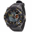 ALIKE Dual Display Multifunction Waterproof Electronic Outdoor Sports Male Men Wrist Watch Yellow