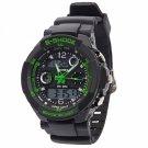 SKMEI 0931 Quartz LED Dual Display Multifunction Personalized Waterproof Sports Male Watch Green