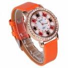 Fashion Women Laides Girls Poker Flower Pattern Diamond Leather Band Quartz Wrist Watch Orange