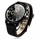 Men Colorful Mirror PU Leather Band Multi-Movement Quartz Wrist Watch Black