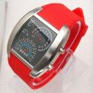 Fashionable Blue LED Light Steel Case Aviation Speedometer Analog Wrist Watch Red
