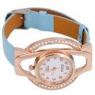 Fashion Women OSDA H161 Plum Blossom Shape Diamond Golden Case Leather Band Quartz Watch Sky Blue