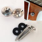 2pcs Alloy & Rubber Round Nails Buckles for Guitar Strap Silver