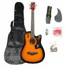 DK-38C Basswood Guitar Brown with Bag Straps Picks LCD Tuner Pickguard String