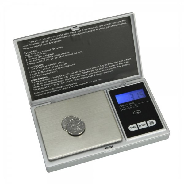500g/0.1g Pocket Jewelry Gold Weed Digital Scale Silver g/oz/ozt/dwt/ct/tl P258