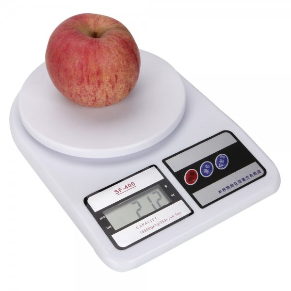 10Kg x 1g SF-400 ABS Plastic LCD Large Capacity Kitchen Diet Food Digital Scale White