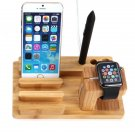 3-in-1 Bamboo Charging Dock Station Stand Holder for Apple Watch/iPhone/Samsuang other Phone