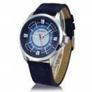 CURREN 8155 Stylish Round Dial Three Pointers Waterproof Male Watch with Calender Blue