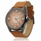CURREN 8155 Stylish Round Dial Three Pointers Waterproof Male Watch with Calender Brown