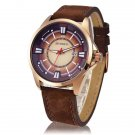 CURREN 8155 Stylish Round Dial Three Pointers Waterproof Male Watch with Calender Brownish
