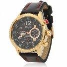 CURREN 8179 Cool Black Dial Waterproof 3-Pointer Golden Alloy Watchcase Men's Wrist Watch