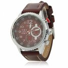 CURREN 8179 Cool Brown Dial Waterproof 3-Pointer Silver Alloy Watchcase Men's Wrist Watch