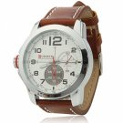 CURREN 8182B 3 Needles Scale Silver Alloy Case Waterproof Male Wrist Watch with Brown Leather Band