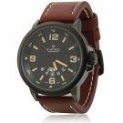 NAVIFORCE 9028 Fashion Ornament Men's Leisure Wrist Watch with Yellow Scale & Brown Leather Band