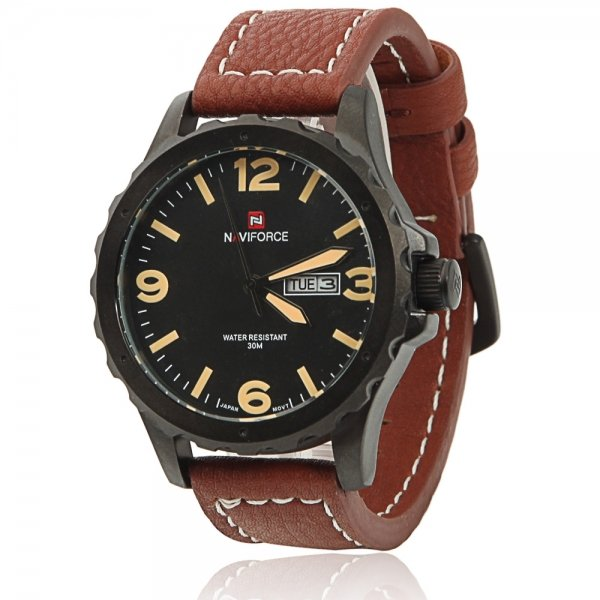 NAVIFORCE 9039 Men Individual Zigzag Style Yellow Scale Wrist Watch with Brown Leather Band