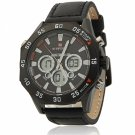 NAVIFORCE 9043 Three Dials Black Stainless Steel Case Men Watch with Black Leather Watchband