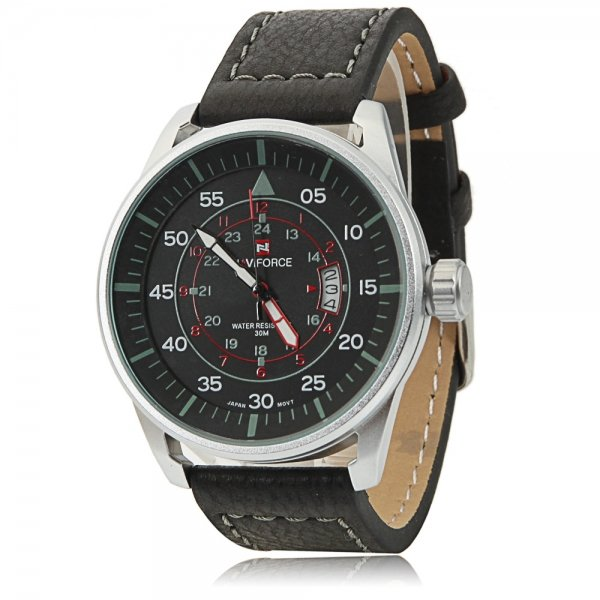 NAVIFORCE 9044 Large Round Black Dial Numeral Scale White Watchcase Male Watch Black Leather Band