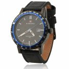 NAVIFORCE 9048 Waterproof Blue Circle Genuine Leather Band Male Watch with Calendar