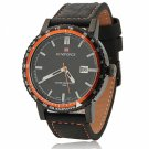 NAVIFORCE 9048 Waterproof Orange Circle Genuine Leather Band Male Watch with Calendar