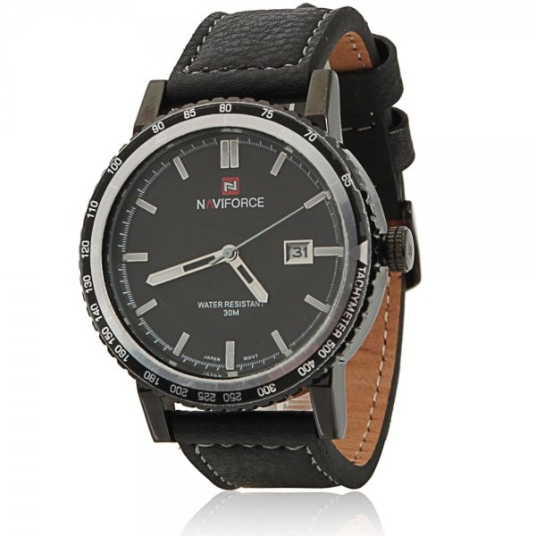 NAVIFORCE 9048 Waterproof Silver Circle Genuine Leather Band Male Watch with Calendar