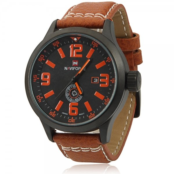 NAVIFORCE 9057 Casual Numeral Scale Dual Calendar Men's Watch with Orange Word & Brown Leather Band