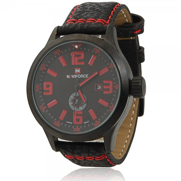 NAVIFORCE 9057 Casual Numeral Scale Dual Calendar Men's Watch with Red Word & Black Leather Band