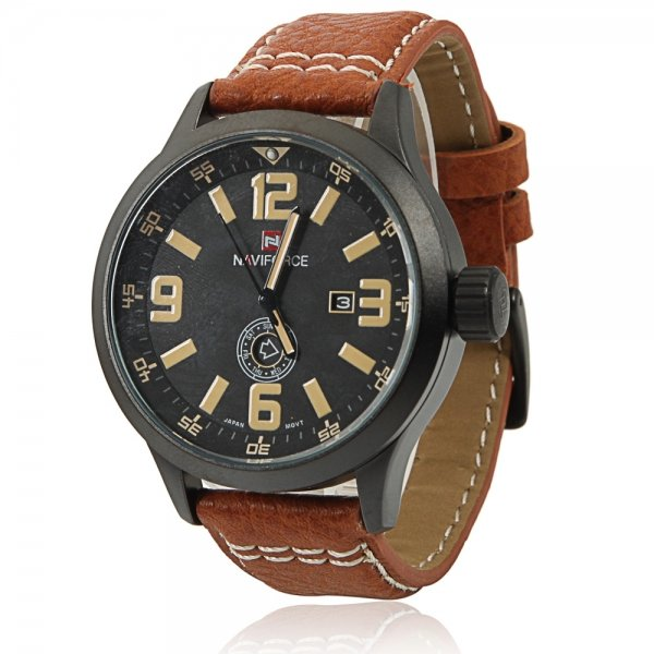 NAVIFORCE 9057 Casual Numeral Scale Dual Calendar Men's Watch with Yellow Word & Brown Leather Band