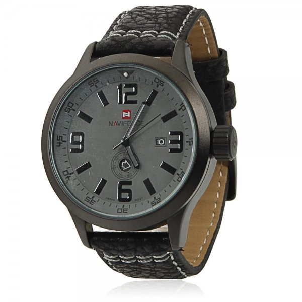 NAVIFORCE 9057 Casual Numeral Scale Dual Calendar Men's Watch with Black Word & Black Leather Band