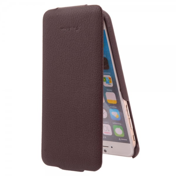 Up-Down Flip Embossing Leather Protective Case for iPhone 6/6S Dark Brown