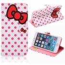 Bowknot & Dots Printed Pattern TPU & Leather Protective Case with Card Slot for iPhone 6/6S Plus