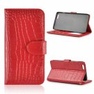 Crocodile Grain Wallet Style Genuine Leather Case with Card Slot for iPhone 6 Plus/6S Plus Red