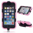 4-in-1 PC Silicone Case w/ Stand & Waterproof Touch Screen for iPhone 6/6S Pink
