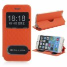 Cross Pattern Dual Display Window PU Leather Protective Case for iPhone 6/6S Orange