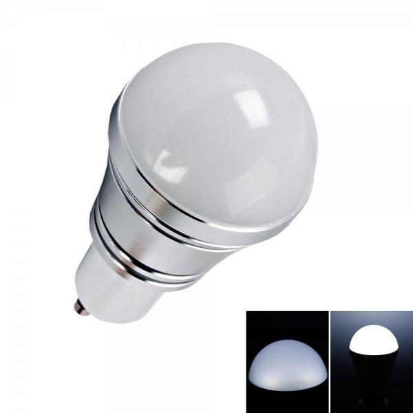 GU10 3W Pure White LED Light Bulb Silver (85-265V)
