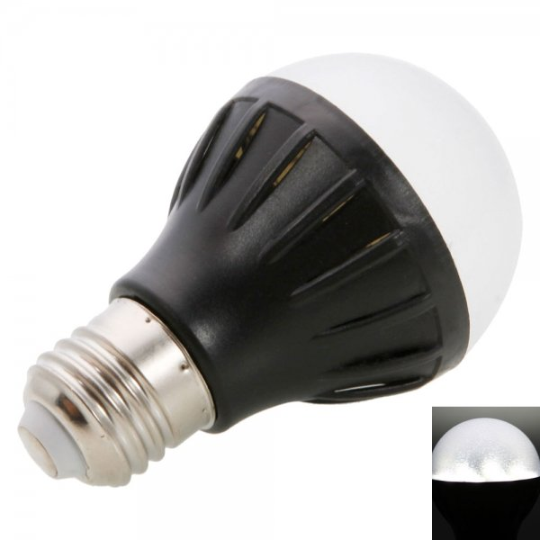 E27 2W 20LED SMD5050 100LM 6000-6500K White LED Light Ball Bulb-Black (220V)