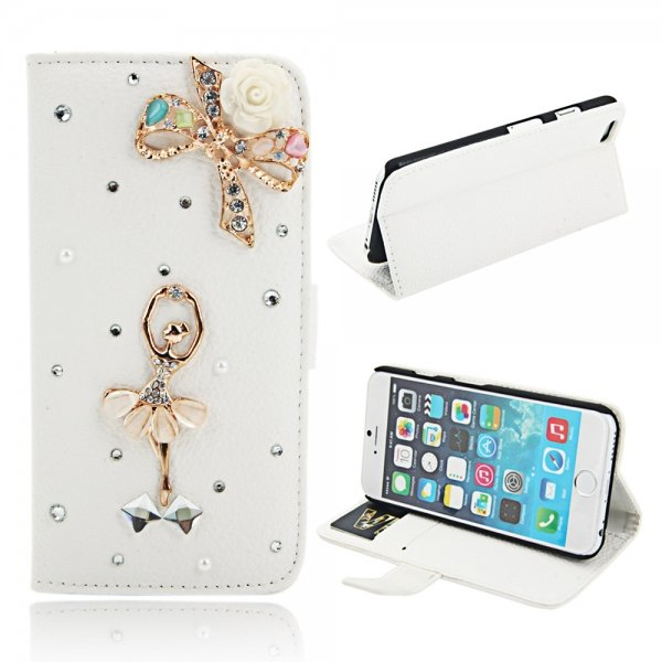 """Gorgeous Ballerina Girl & Colored Bowknot Pattern Leather Case with Rhinestones for 4.7"""""""" iPhone 6/6"""