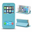 """Double Viewing Windows PU Leather Case for 4.7"""""""" iPhone 6/6S Blue"""