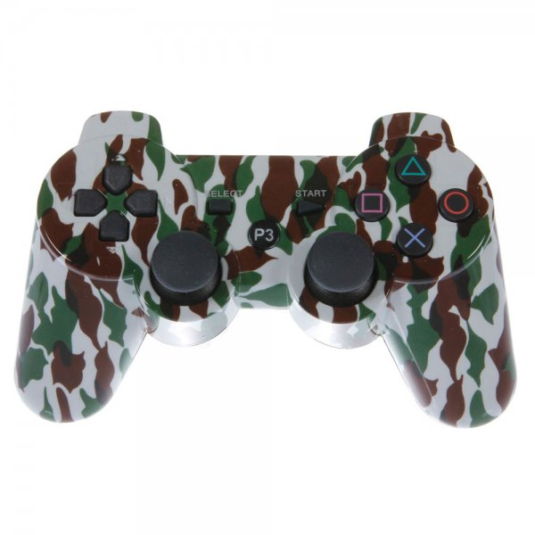 Wireless Bluetooth Plastic Controller with General Keys for Sony PS3 Camouflage White + Green