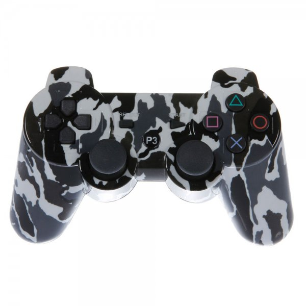 Wireless Bluetooth Plastic Controller with General Keys for Sony PS3 Camouflage White + Black