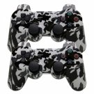 2Pcs Plastic Wireless Bluetooth Double Vibration Controller for Sony PS3 Camouflage White + Black