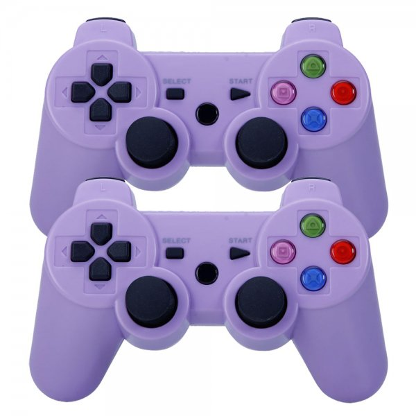 2Pcs Wireless Bluetooth Controller for Sony PlayStation 3 PS3 / PC Purple (Color Buttons)