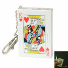 Poker-K Anti-Wind Flame Cigarette Lighter with Glittery Key Ring Red & White