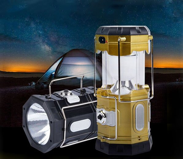 New Multi-function Retractable Solar Power Lantern Camping Lihgt with Flashlight
