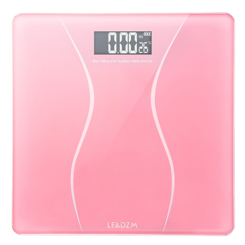 LEADZM 180Kg Slim Waist Pattern Personal Scale Pink (From US)
