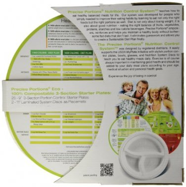 Compostable Portion Control ECO 9in 3-Section Plate with visual food guidelines(Pk25, White)