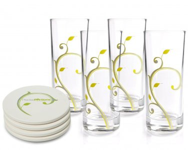 Stylish 10oz Portion Control Beverage Glasses with Discrete 4 & 8oz Guiding Lines (Pk 4)