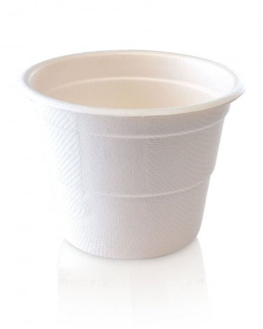 Compostable 10oz ECO Cups with 4oz Visual Guidelines, 100% Natural Bagasse Fiber (Pk25, White)